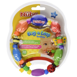 Nuby Hard / Soft Teether Bug-a-Loop, 3m+