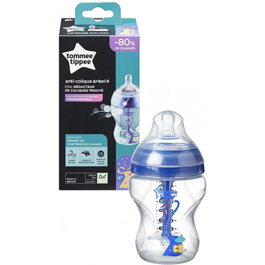 Tommee Tippee Advanced Anti Colic Decorated Bottle with Heat Sensing Tube, 260 ml, Boy
