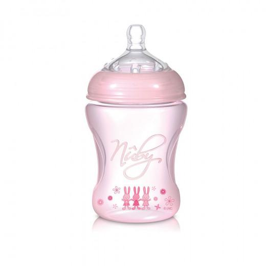 Nuby Natural Touch Softflex Polypropylene Feeding Bottle 3m+ 240 ml Pink