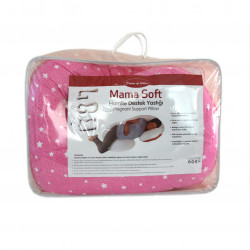 Pragnancy Body Pillows Pink with White Stars - U Shape with Zipper