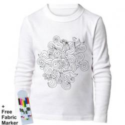 بلوزة ذات أكمام طويلة للتلوين  بتصميم زهور للأطفال من عمر 9-11 سنة من ملبس