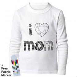 Mlabbas I Love Mom Kids Coloring Long Sleeve Shirt 1-2 years