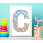 مطبوعات فنية جدارية بإطار خشبي غير عادي ، تصميم الأحرف الأولى 2 - من اكسترا اورديناري, قياس A3