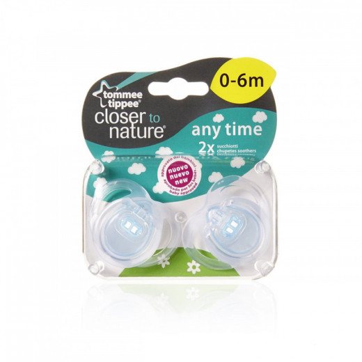 Tommee Tippee Anytime Soother ( 0-6 Months ), X2, Blue