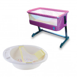 Farlin Package - ( aBaby Bedside Close to Me, Purple +   Bath Tub with Net )
