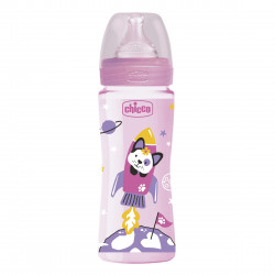 Chicco Well Being plastic baby bottle with fast flow silicone nipple