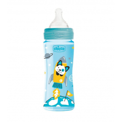 Chicco Well Being Plastic Baby Bottle With Fast Flow Silicone Nipple - Blue