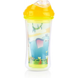 Nuby Insulated No-spill Clik-It Cool Sipper - 270 ml, Yellow