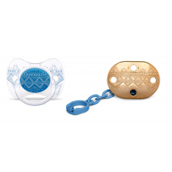 Suavinex Pacifier Premium Couture Physiological Teat - Chain - light Blue 4-18 months
