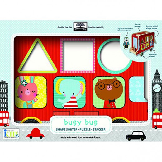Green Start Busy Bus Wooden Toy Shape Sorter Puzzle Stacker