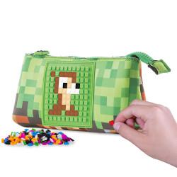 Creative School Pixel Pencil Case, Green/ Brown