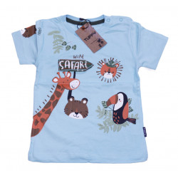 Baby Blue Short Sleeves T-shirt with Safari Design, 24 Months