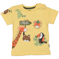 Yellow Short Sleeves T-shirt with Safari Design, 6 Months