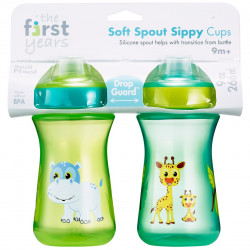 The First Years Soft Spout Sippy Cups 9 Oz - 2 Pack, Hippo&Giraffe