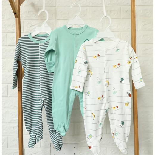 قطع ملابس طويلة الأكمام للأطفال  3 قطع في عبوة واحدة 9-6 أشهر من كالور لاند, فواكه