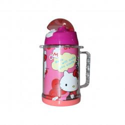 زجاجة مياه مع مصاصة بتصميم  هيلو كيتي ، زهري ، 600 مل