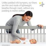 بطانة سرير أطفال شبكية مسامية للتنفس باللون بيج فاتح ومضادة للصدمات