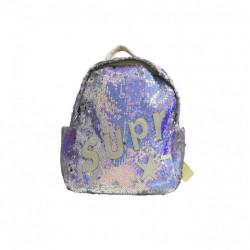 حقيبة ظهر صغيرة عصرية لامعة للبنات ، رمادي و بنفسجي, 30*24 سم